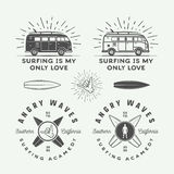Set of vintage surfing logos, emblems, badges, labels. And design elements. Graphic vector Illustration Royalty Free Stock Photos