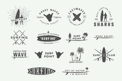 Set of vintage surfing logos, emblems, badges, labels Royalty Free Stock Photos