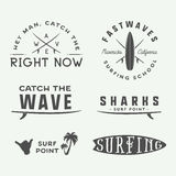Set of vintage surfing logos, emblems, badges, labels. And design elements in retro style. Vector Illustration Royalty Free Stock Image