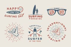 Set of vintage surfing logos, posters, prints, slogans. In retro style. Vector Illustration. Monochrome graphic art Stock Photography