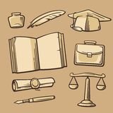 Set of vintage symbols on the subject of school, college, university and education. Stock Photography