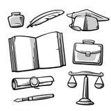 Set vintage symbols on the subject school, college, university education. Royalty Free Stock Photos