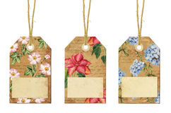 Set of vintage tags with flowers. Set of three vintage tags with flowers Royalty Free Stock Photos