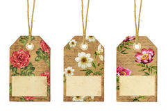 Set of vintage tags with flowers. Set of three vintage tags with flowers Royalty Free Stock Images