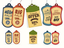 Set of vintage tags for Mega Sale collection. Collection of vintage tags or labels for Mega Sale with special discount offers Royalty Free Stock Photos