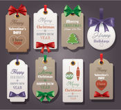 Set of vintage tags with silk bows Royalty Free Stock Photo