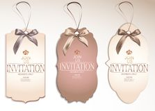 Set of vintage tags with silk bows. Pastel. Vector illustration Stock Images