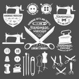 Set of vintage tailor labels, badges and design elements Stock Image