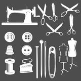 Set of vintage tailor labels, badges and design elements. Set of tailor design elements. Sewing machine, needle, buttons, thread pin tools Stock Images