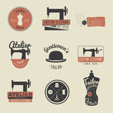 Set of vintage tailor labels, emblems and design elements. Retro Royalty Free Stock Image