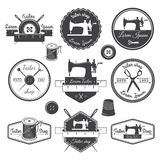 Set of vintage tailor labels, emblems and designed elements. Tai Royalty Free Stock Photos