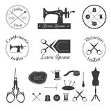 Set of vintage tailor logo. Set of vintage tailor logo, emblem, labels, badges and retro design elements. Sewing supplies Royalty Free Stock Photo