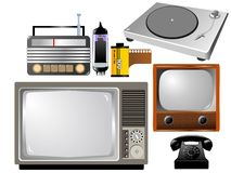 Set of vintage technics. Set of vintage tech objects Royalty Free Stock Images