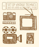 Set of vintage technics. Hand drawn pen and ink Royalty Free Stock Photos