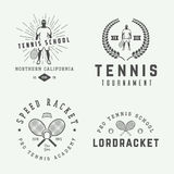 Set of vintage tennis logos, emblems, badges, labels Stock Photos