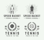 Set of vintage tennis logos, emblems, badges, labels Royalty Free Stock Photo