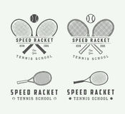 Set of vintage tennis logos, emblems, badges, labels and design elements. Royalty Free Stock Images