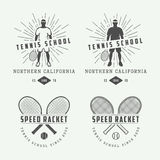 Set of vintage tennis logos, emblems, badges, labels and design elements. Stock Photography
