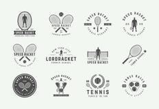 Set of vintage tennis logos, emblems, badges, labels and design elements. Vector illustration. stock image