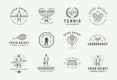 Set of vintage tennis logos, emblems, badges, labels and design elements. Vector illustration. stock photos
