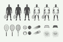 Set of vintage tennis sport design elements in retro style. Graphic monochrome art. Vector Illustration Royalty Free Stock Photography
