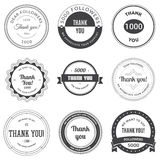 Set of vintage Thank you badges, labels and stickers. Royalty Free Stock Photography