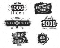 Set of vintage Thank you badges. Social media Followers labels and likes stickers. Handwriting lettering with hipster Stock Photo