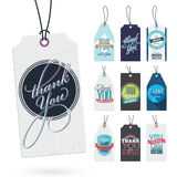 Set of Vintage Thank You Tags Royalty Free Stock Photos