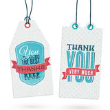 Set of Vintage Thank You Tags Stock Photo