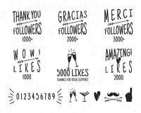Set of vintage Thanks badges. Social media Followers labels and likes stickers. Handwriting lettering with hipster Stock Image