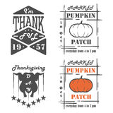 Set of vintage Thanksgiving Day emblems, signs, design elements Stock Image