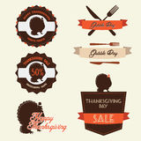 Set of vintage thanksgiving day labels. Set of vintage retro thanksgiving day labels and badges Stock Photos