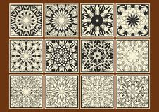 Set of vintage tile, collection geometric patterned tiles, black calligraphic drawing on beige background, separate design element. S in retro victorian style Stock Photos