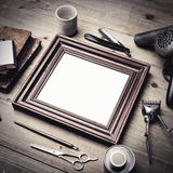 Set of vintage tools of a barber with picture frame Stock Images