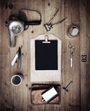 Set of vintage tools of barber shop and black paper Royalty Free Stock Images