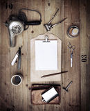 Set of vintage tools of barber shop and blank paper Stock Photography