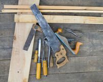 Set of vintage  tools. Set of vintage carpenter tools Stock Photography