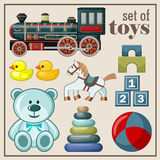 Set of vintage toys. Royalty Free Stock Images