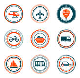 Set of  vintage transportation stamps icons Royalty Free Stock Photo