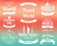 Set of vintage Travel badges and labels. Holiday Elements Icons. Travel and Tourism. Vector Royalty Free Stock Photos