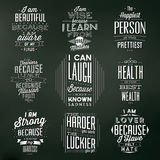 Set Of Vintage Typographic Backgrounds / Motivational Quotes Stock Photography