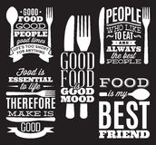 Set of vintage typographic food quotes for menu or t-shift with knife, spoon, fork. Set of vintage typographic food quotes for the menu or t-shift with knife Stock Photo