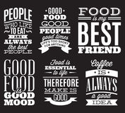 Set of vintage typographic food quotes to the menu or t-shift Royalty Free Stock Image