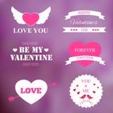 Set of vintage valentine's badges. On violet background Royalty Free Stock Photography