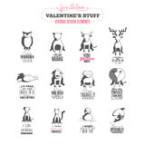 Set of vintage Valentine's day design elements Stock Photography