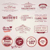 Set of vintage Valentine's day labels Stock Photo