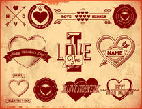 Set of vintage Valentines Day labels Royalty Free Stock Images