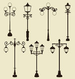 Set of vintage various ornamental streetlamps Stock Photo
