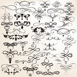 Set of vintage vector calligraphic elements for design Stock Photo