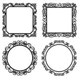 Set of vintage vector frames borders Royalty Free Stock Images